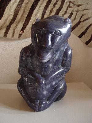 Joram Mariga - Lepidolite baboon from 1989