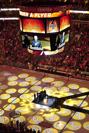 Mark Howe - Mark Howe speaking at the retirement of his number (2) by the Philadelphia Flyers.