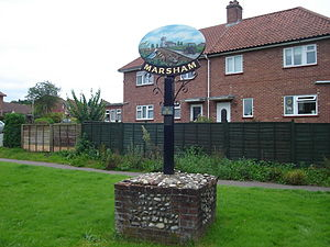 Marsham, Norfolk -  The village sign depicts the peewit bird