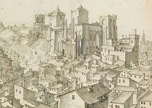 Avignon Cathedral - Detail of a drawing by Étienne Martellange dating from the first quarter of the 17th century. The cathedral is at the top left, beyond the Palais des Papes.