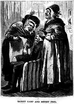 Nurse Sarah Gamp (left) from Martin Chuzzlewit became a stereotype of untrained and incompetent nurses of the early Victorian era, before the reforms of Florence Nightingale Martin Chuzzlewit illus11.jpg