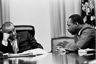 President Lyndon B. Johnson meeting with King in the White House Cabinet Room, 1966 Martin Luther King, Jr. and Lyndon Johnson 2.jpg