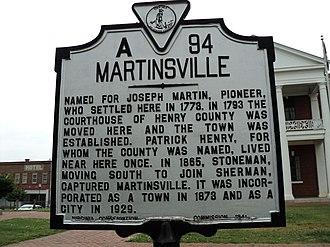 Joseph Martin (general) - Historic marker for Martinsville, Virginia, named for Joseph Martin