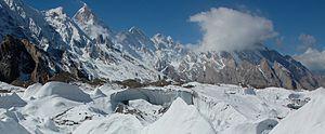 left Masherbrum, right next to it the double peaks Mandu Kangri and Mandu Kangri West
