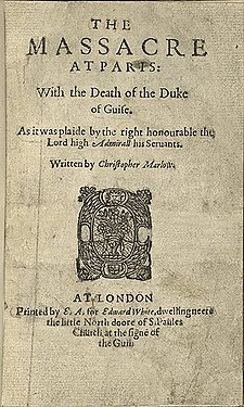 Title page to a rare extant printed copy of The Massacre at Paris by Christopher Marlowe; undated. Massacre-at-paris-marlowe.jpg