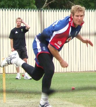 Fast bowling - Matthew Hoggard begins his follow-through in training.