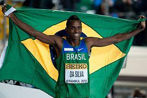 2012 IAAF World Indoor Championships – Men's long jump - Mauro Vinícius da Silva celebrating his win.