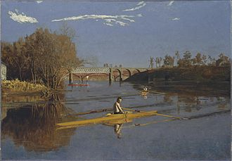 Wilson Brothers & Company - Max Schmitt in a Single Scull by Thomas Eakins (1871). The Pennsylvania Railroad, Connecting Railway Bridge over the Schuylkill River (1866–67) is in the background.