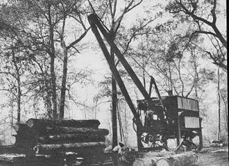 Logging - McGiffert Log Loader in East Texas, USA circa 1907