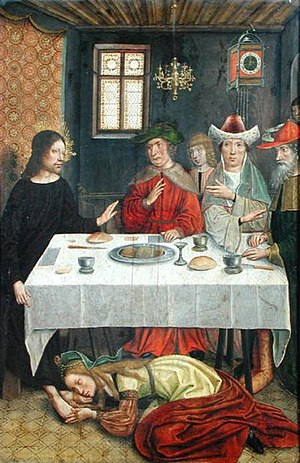Parable of the Two Debtors - The Meal at the House of Simon the Pharisee, c. 15th century.