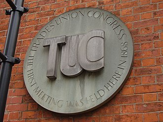 Mechanics' Institute, Manchester - Plaque commemorating the first meeting of the Trades Union Congress at the Mechanics' Institute in 1868