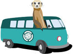 Illustration of meerkat in VW bus