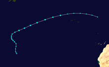An image depicting the track of a weak and short-lived tropical storm in the central Atlantic.