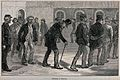 Men are walking around in an exercise yard. Wood engraving a Wellcome V0041241.jpg