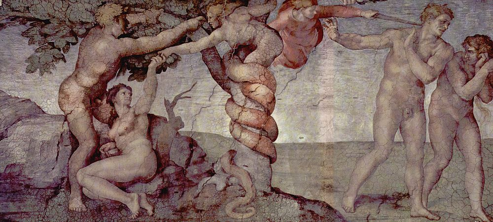 Michelangelo's painting of the sin of Adam and Eve from the Sistine Chapel ceiling Michelangelo Buonarroti 022.jpg
