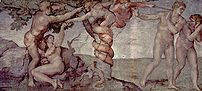 Michelangelo's painting of the sin of Adam and Eve (the Fall)