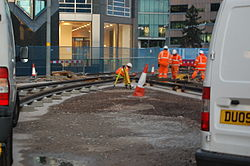 Midland Metro - track laying - Upper Bull Street - Birmingham 08.JPG
