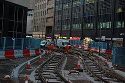 Midland Metro - track laying - Upper Bull Street - Birmingham 14.JPG