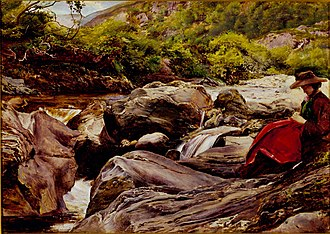 Effie Gray - Waterfall, or Effie at Glenfinlas, 1853, by Millais