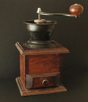 Coffee preparation - An old-fashioned manual burr-mill coffee grinder