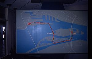 Expo Express - Model board at Expo Express control centre at Place d' Accueil terminal showing line layout