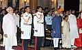 Mohd. Hamid Ansari and the Prime Minister, Shri Narendra Modi at the Civil Investiture Ceremony, at Rashtrapati Bhavan, in New Delhi. The Union Minister for External Affairs and Overseas Indian Affairs, Smt. Sushma Swaraj.jpg