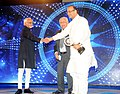 Mohd. Hamid Ansari presenting the CNN-IBN Indian of the Year Award 2014 to the Union Minister for Finance, Corporate Affairs and Information & Broadcasting, Shri Arun Jaitley, in New Delhi on March 17, 2015.jpg