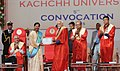 Mohd. Hamid Ansari presenting the gold medal and certificate to a student of the Krantiguru Shyamji Krishna Verma Kachchh University, at Bhuj, in Gujarat. The Governor of Gujarat.jpg