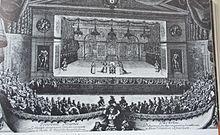 Estampe représentant la scène de Versailles