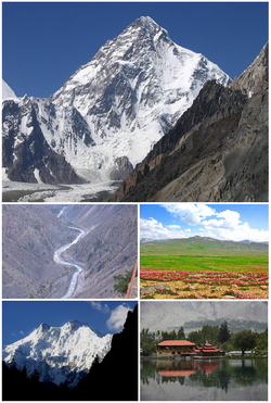 Counterclockwise from top: K2 – Astore Valley – Nanga Parbat – Shangri La Resort, Skardu – Deosai Plateau