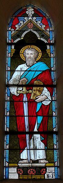 Vitrail de l'église Saint-Martin de Montflours (53). Saint-Paul.
