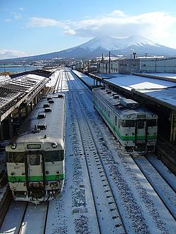 Mori Station with Mount Komagatake in the background