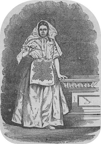 Endowment (Latter Day Saints) - A woman dressed in the robes of the Nauvoo endowment, circa the 1870s.