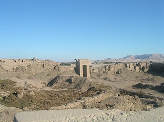 Dendera Temple complex - The massive mudbrick compound walls seen from the temple roof.