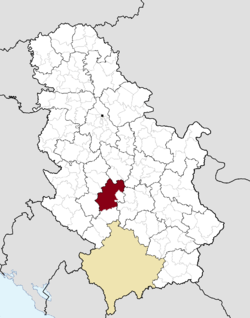 Location of the city of Kraljevo within Serbia