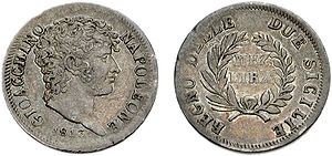 Neapolitan lira - Head right; 1813 in exergue. GIOACCHINO NAPOLEONE
