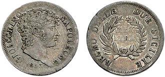 Neapolitan lira - Head right; 1813 in exergue. GIOACCHINO NAPOLEONE