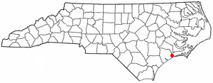 Swansboro, North Carolina - Image: NC Map doton Swansboro