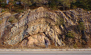 Anticline - Anticline exposed in road cut (small syncline visible at far right). Note the man standing in front of the formation, for scale. New Jersey, U.S.A.