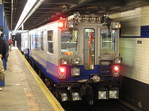 New York City Subway rolling stock - The track geometry car at Jay Street – Borough Hall.