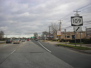 New York State Route 27 - Sunrise Highway becomes a limited-access highway at NY 109.