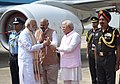 Narendra Modi being received by the Governor of Punjab and Administrator of U.T. Chandigarh, Shri V.P. Singh Badnore and the Chief Minister of Haryana, Shri Manohar Lal Khattar, on his arrival, at Chandigarh.jpg