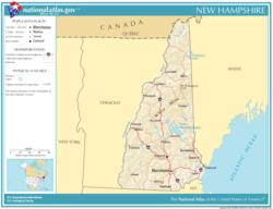 Mapa del estado de Nuevo Hampshire mostrando carreteras, ríos y ciudades principales