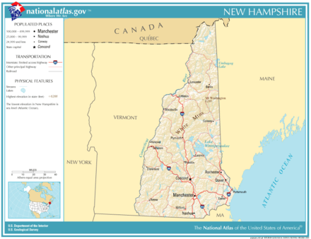 Map of New Hampshire, with roads, rivers and major cities National-atlas-new-hampshire.png