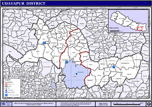 Udayapur District - Map of the VDCs and Municipalities (blue) in Udayapur District