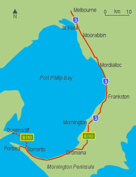 Map showing a road on the eastern and southern sides of Port Phillip Bay
