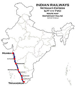 Netravati Express (LTT-TVC) Route map.jpg