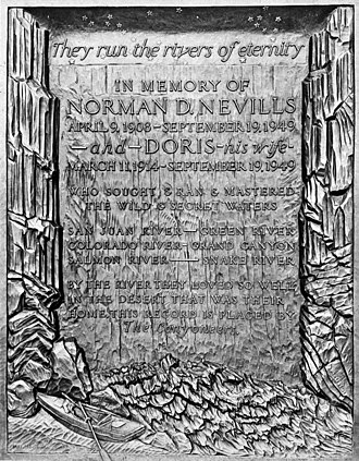 Mary Ogden Abbott - This bronze memorial plaque for Norman and Doris Nevills was casted by Mary Ogden Abbott in 1951. The plaque was installed near the west abutment of Navajo Bridge in 1952, where it has remained to this day.