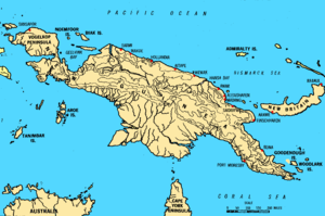 A location map of New Guinea. Finschhafen is s...