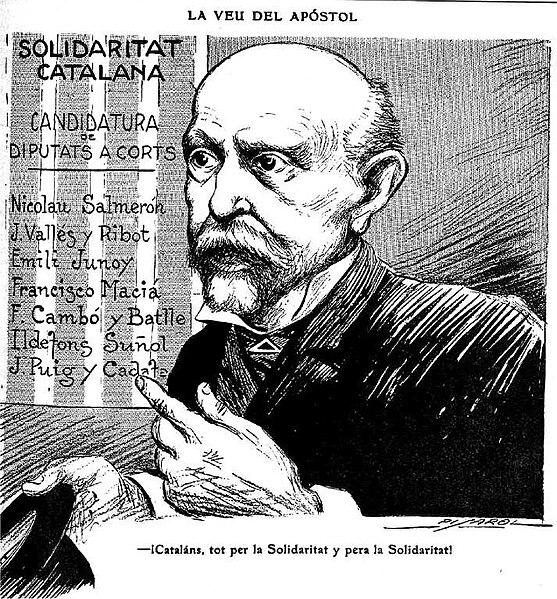 Cartel electoral de Solidaritat Catalana con el retrato de Nicolás Salmerón.